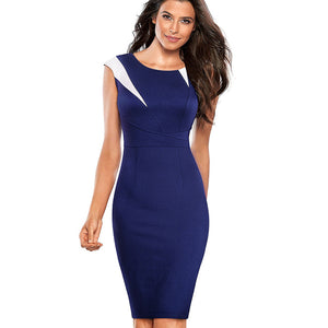 Nice-forever Vintage Optical Illusion Patchwork Wear to Work Zipper vestidos Bodycon Office - Beltran's Enterprise