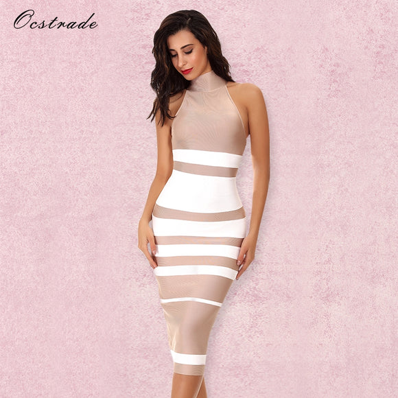 Ocstrade Vestido Midi Elegante High Quality Women Fashion 2017 Nude and White Striped Bodycon Bandage Dress Rayon Wholesale - Beltran's Enterprise
