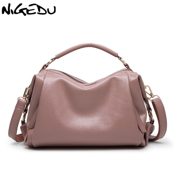 NIGEDU brand 2017 new Boston Women handbags PU Leather shoulder Crossbody bag Tote - Beltran's Enterprise