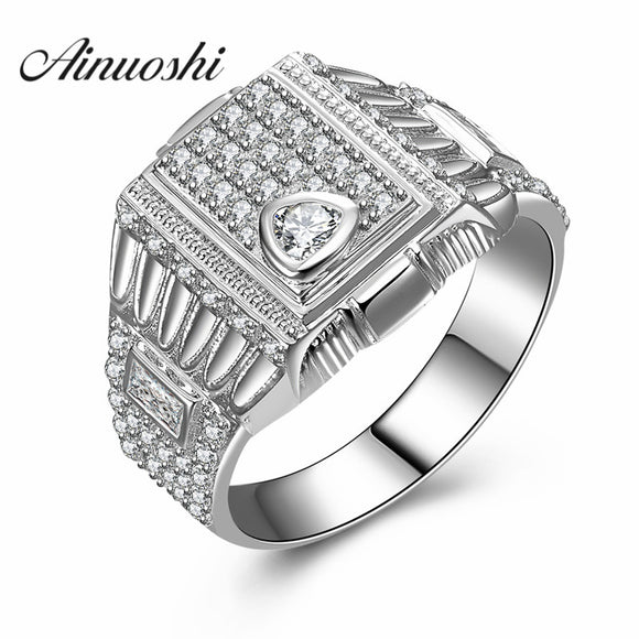 AONUOSHI Victoria Wieck Style Men Cubic Zirconia Ring 925 Sterling Silver Fashion - Beltran's Enterprise