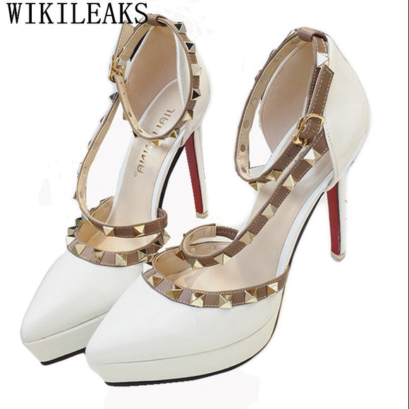womens gladiator sandals platform shoes designer rivet shoes patent leather  high heels sandals - Beltran's Enterprise