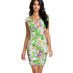 Nice-forever Spring Vintage Square Neck Floral Print  Rockabilly vestidos Bodycon Sheath - Beltran's Enterprise