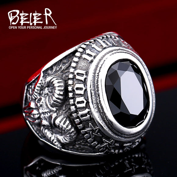 BEIER Stainless steel Cool Unique Black Stone Ring Titanium Steel Retro Old Totem Jewelry For Man - Beltran's Enterprise