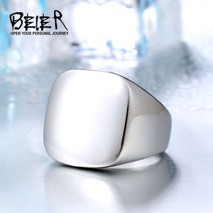 BEIER 316L Stainless Steel High Polished Signet Solid Fashion Man's Finger steel colour - Beltran's Enterprise