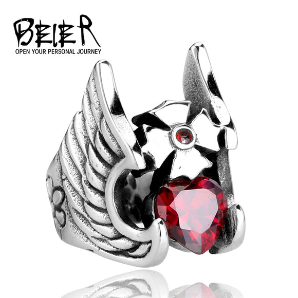 BEIER Unique Design CZ Red Stone Ring For Man Stainless Steel Fashion Jewelry - Beltran's Enterprise