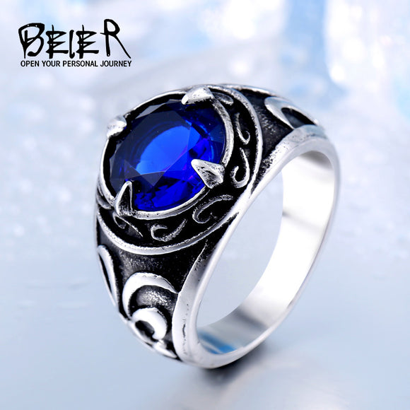 2017 New Vintage Northern Europe Viking Stainless Steel Ring With 3colour Stone Fashion - Beltran's Enterprise