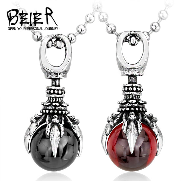 BEIER 2017 New Stainless Steel Fashion Claw Necklace Pendant With Red/Black/blue Stone fashion - Beltran's Enterprise