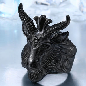 BEIER Vintage Stainless Steel Big Goat Head Ring Unique Biker Punk Animal Jewelry for man - Beltran's Enterprise