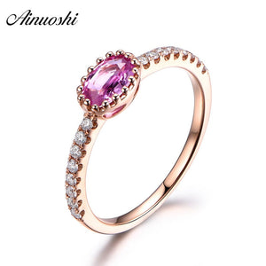AINUOSHI 0.5 Carat Oval Cut Red Sona Bridal Halo Rings 925 Sterling Silver Rose Gold - Beltran's Enterprise