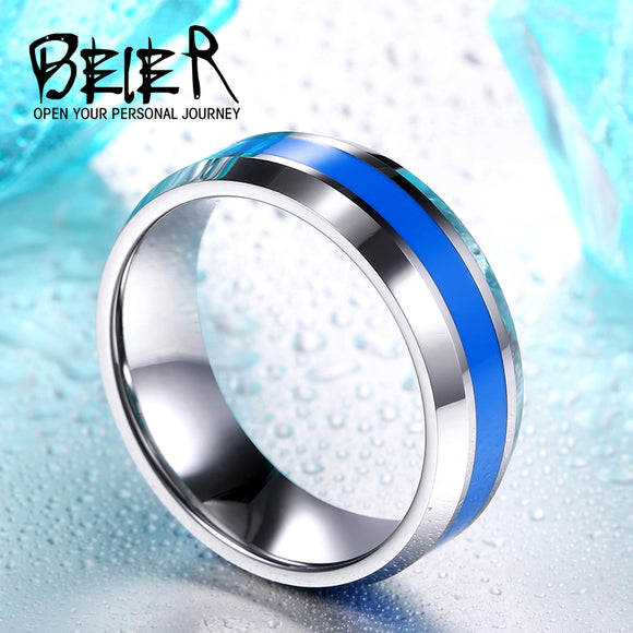 BEIER New 2017 Royal Men's Fashion Ring with blue colour Tungsten High Quality - Beltran's Enterprise