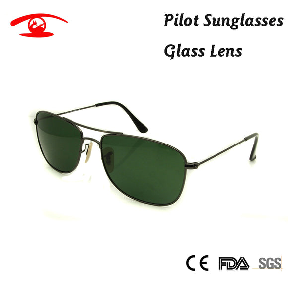 2018 New High Quality Pilot Sunglasses Men G15 Green Glass Sun Glasses for Men Brand Designer