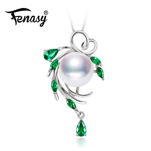 FENASY 925 sterling silver necklace ,pearl jewelry statement necklace Pearl pendant for women flower beryl Bohemia necklace 2018 - Beltran's Enterprise