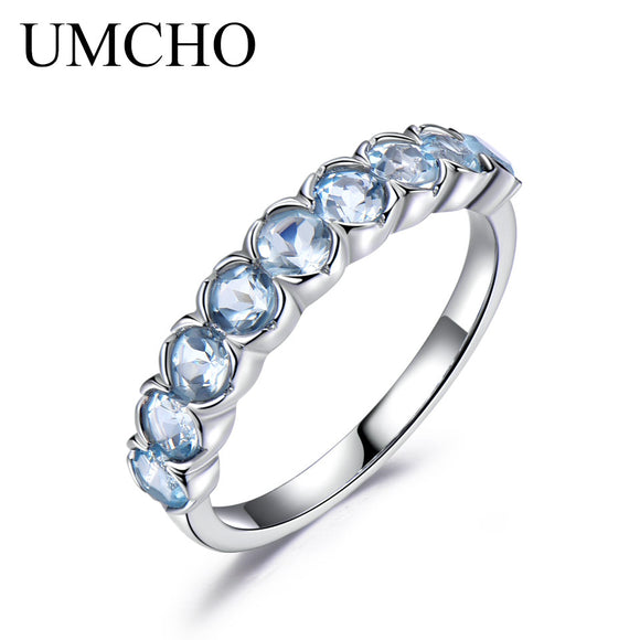 UMCHO 1.35ct Natural Sky Blue Topaz Gemstone Ring 925 Sterling Silver Wedding Band Engagement Rings For Women Fine Jewelry - Beltran's Enterprise