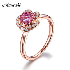 AINUOSHI 0.47 Carat Round Cut Red Sona Halo Rings 925 Sterling Silver Rose Gold - Beltran's Enterprise