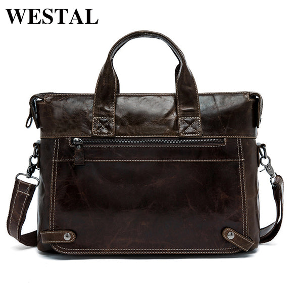 WESTAL Briefcase Men Leather Handbags Genuine Leather Laptop Crossbody Bags - Beltran's Enterprise