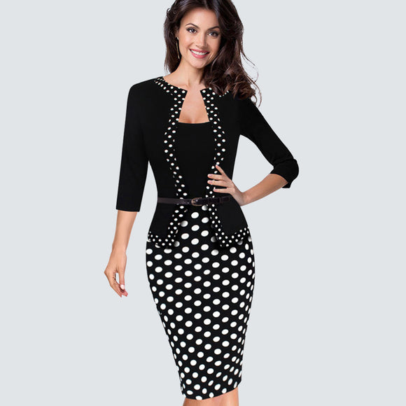 Casual Black And White Dots Patchwork Spring Autumn Dress Women - Beltran's Enterprise