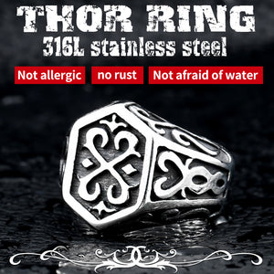 BEIER Cross Antiqued Northern Europe Viking 316L Stainless Steel Ring Gothic Pattern Jewelry - Beltran's Enterprise