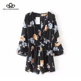 Bella Philosophy New 2018 Floral Printed Jumpsuit Women Casual Loose Romper Female Plunge V-neck Flare Sleeve Jumpsuit - Beltran's Enterprise