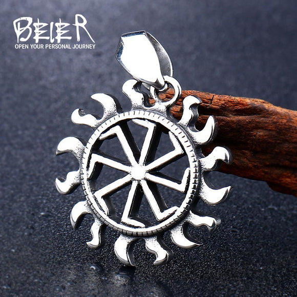 BEIER Hiphop 316L stainless steel Norse Vikings Pendant Necklace Slavic Amulet Pagan Solar Symbol - Beltran's Enterprise