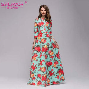 S.FLAVOR Women printing long dress 2018 sping summer fashion - Beltran's Enterprise