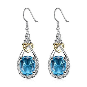 Fine Jewelry S925 Sterling Silver Blue Topaz Drop Earrings For Women Oval Gemstone - Beltran's Enterprise