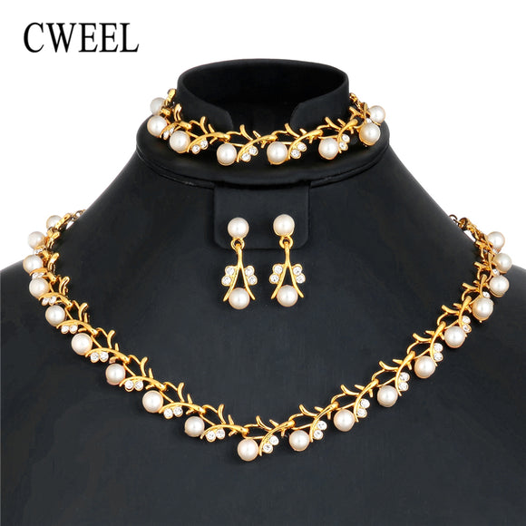 CWEEL Imitation Pearl Jewelry Sets Turkish Silver Gold Color Jewellery Sets For Women Wedding Party African Beads Jewelry Set - Beltran's Enterprise