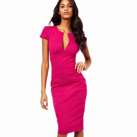 Summer Charming Sexy Pencil Dress Celebrity Style Fashion Pockets Knee-length Bodycon Slim Business Sheath Party Dress E521 - Beltran's Enterprise