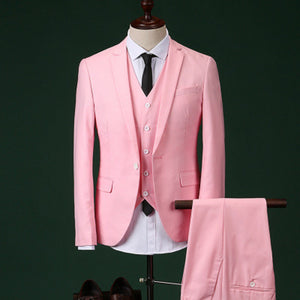 2017 Men Slim Fit Pink Suit Wedding Groom Mens Prom Suits With Pants Party Dinner Tuxedos - Beltran's Enterprise