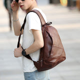 2018 Men's PU Leather Vintage Travel Riding Irregular Triangle Messenger - Beltran's Enterprise