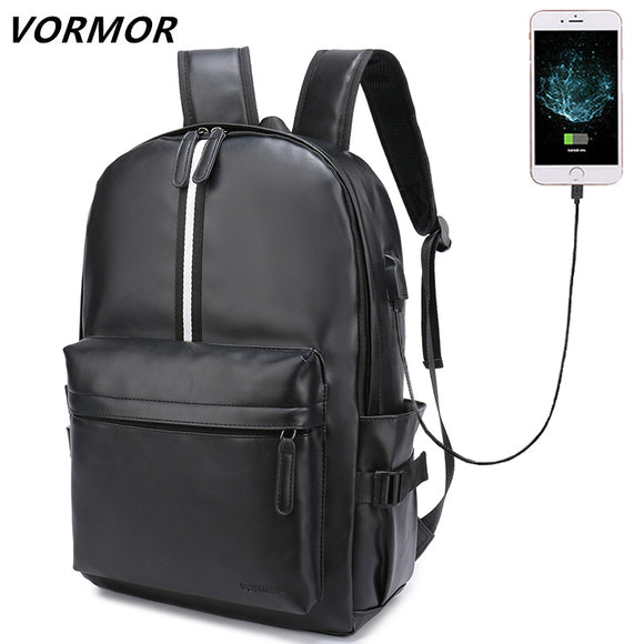 VORMOR New Men Leather Backpack For 15.6 inches Laptop Backpack Large Capacity Stundet Backpack - Beltran's Enterprise