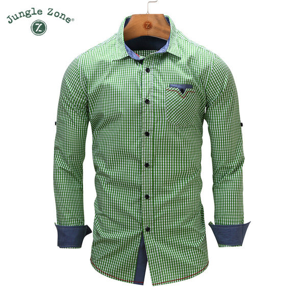JUNGLE ZONE european size New Arrival Men's shirt Long Sleeve Plaid Shirts Mens - Beltran's Enterprise