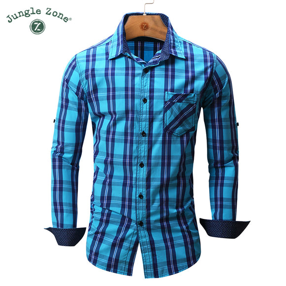 JUNGLE ZONE european size Men's shirt Long Sleeve Plaid Shirts Brand Mens shirts - Beltran's Enterprise