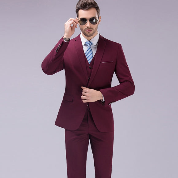 28a3f65061 LEFT ROM 2017 Men Business Suit Slim fit Classic Male Suits Blazers Luxury Suit  Men -