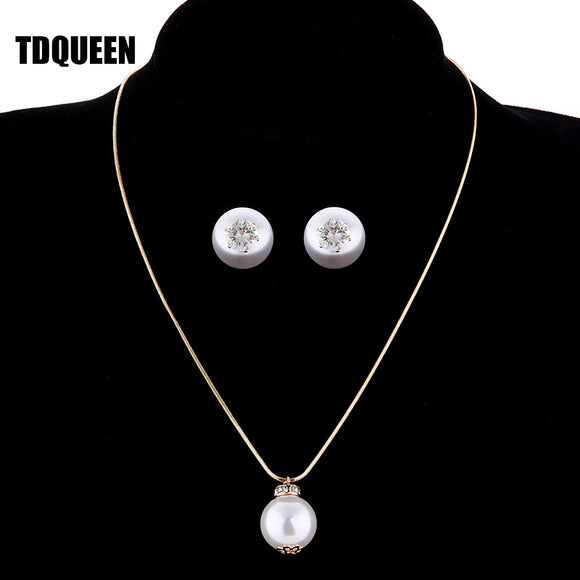 TDQUEEN Simulated Pearl Jewelry Sets Gold Color Big Round Pearl - Beltran's Enterprise