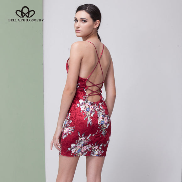 Bella Philosophy 2018 women autumn winter lace-up back open print velvet cami bodycon slim dress  vestidos - Beltran's Enterprise
