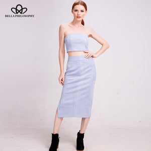 Bella Philosophy  2018  Suede Female  Basic High Waist Thicken Bodycon Vintage Suede Split Thick Stretchy Pencil Skirt with Top - Beltran's Enterprise