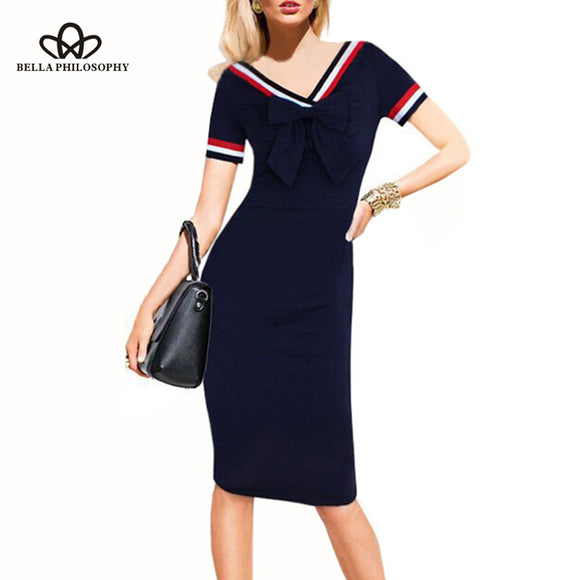 Bella Philosophy 2018 Autumn Dress Women Cute Bow Slim European Style Pencil Dress Female Vintage Dots Short Sleeve Vestido - Beltran's Enterprise
