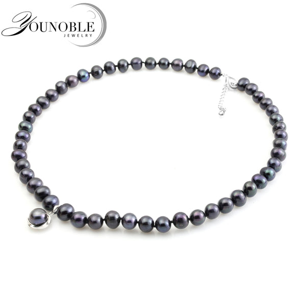 YouNoble real black freshwater pearl necklace for women,pearl choker necklace bridal girl mother best friends birthday gift - Beltran's Enterprise