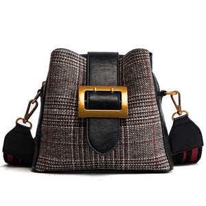 JANESPRI 2018 Plaid Bucket Women Handbag Ladies Shoulder bag PU Leather Crossbody Messenger Bag Female Buckle Belt Shoulder Bag - Beltran's Enterprise
