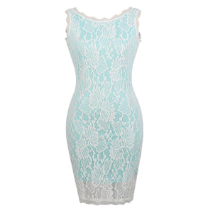Bella Philosophy 2018 women spring green white lace sleeveless bodycon strenchy dress for party - Beltran's Enterprise