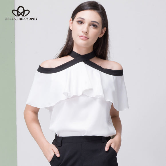 Bella Philosophy 2018 women summer silky chiffon off shoulder bow tie back open ruffles shirt blouse short sleeve - Beltran's Enterprise