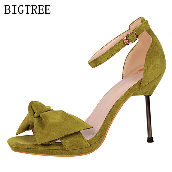 high quality flock italian high heels sandals woman zapatos mujer ladies pumps bigtree shoes salto alto - Beltran's Enterprise
