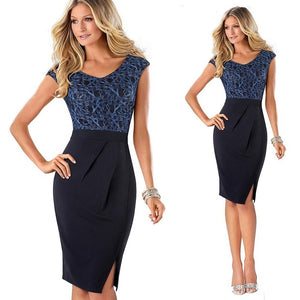 New Casual V Neck Front Side Split Summer Dress Women Formal Work Office Bodycon Slim Pencil Dress EB431 - Beltran's Enterprise