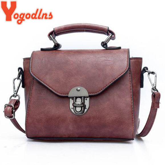 Yogodlns Vintage Leather Female Top-handle Bags Small Women Shoulder Bag Crossbody