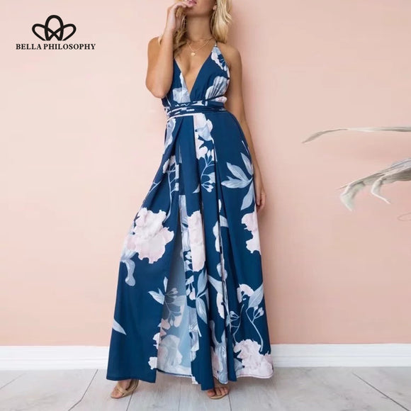 Bella Philosophy 2018 spring women full length jumpsuits loose print backless female rompers V Neck sexy ladies fashion rompers - Beltran's Enterprise