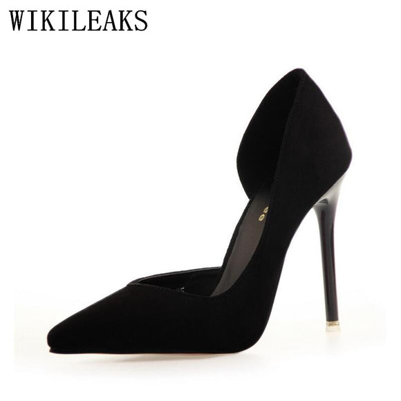 Sexy Point Toe Flock Extreme High Heels Pumps Shoes stiletto 2018 Newest Woman's Red Sandals Bigtree - Beltran's Enterprise