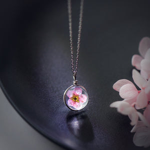Fashion Real Pink Peach Blossom Flower 925 Sterling Silver Round Necklace - Beltran's Enterprise