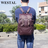 WESTAL Men's Backpack male Genuine Leather Men's Travel Bag mochilas laptop backpack - Beltran's Enterprise