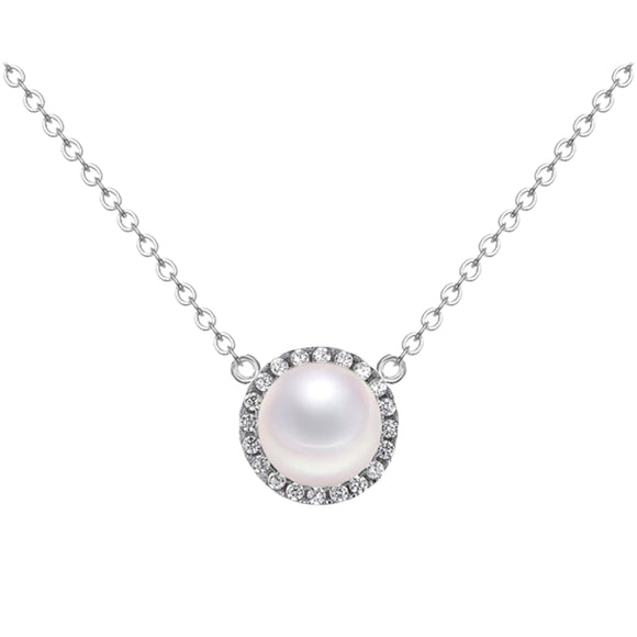Classical Sun Flower Round White Shell Pearl 925 Sterling Silver Necklace - Beltran's Enterprise