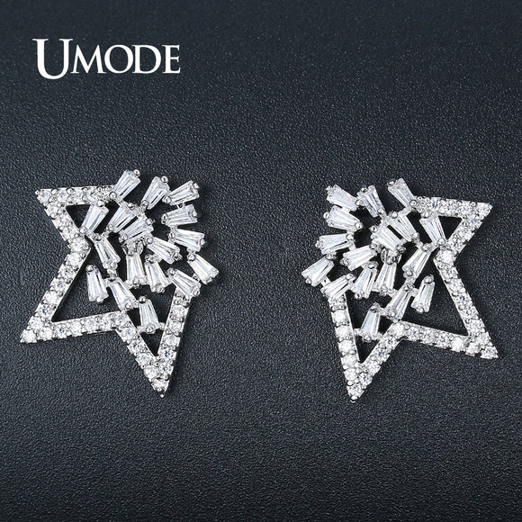 UMODE Brand Design New Fashion Star Stud Earrings for Women White Gold Color Crystal Earings Fashion Jewelry Bijoux Femme UE0335 - Beltran's Enterprise
